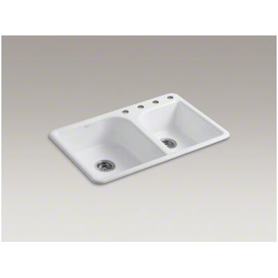 "Kohler Efficiency 33"" X 22"" X 7-5/8"" Top-Mount Large/Medium Double-Bowl Kitchen Sink with 4 Faucet Holes"