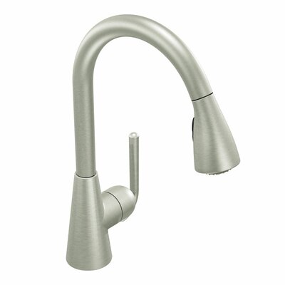"Moen Ascent One Handle Single Hole High Arc Pull Down Lead Compliant Kitchen Faucet with 68"" Hose"