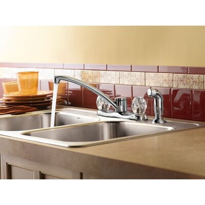 Protege Two Handle Centerset Kitchen Faucet with White Side Spray