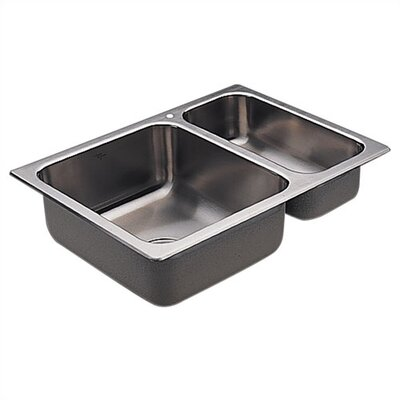 "Moen Camelot  25"" x 18"" Unequal Double Bowl Drop-In Sink"