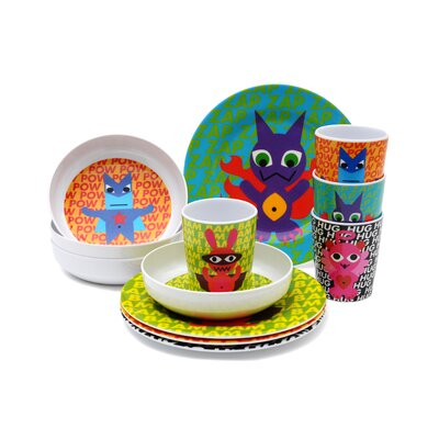 French Bull Superhero Kids 16 Piece Dinnerware Set