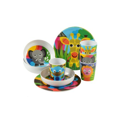 French Bull Jungle Kids16 Piece Dinnerware Set