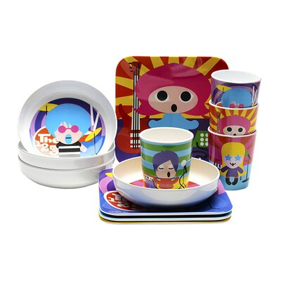French Bull Rock Star Kids 16 Piece Dinnerware Set