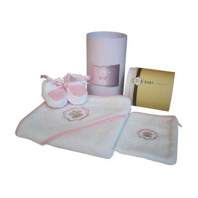 Baby Champagne Bathtub Three Piece Gift Set and Keepsake Cylinder Box