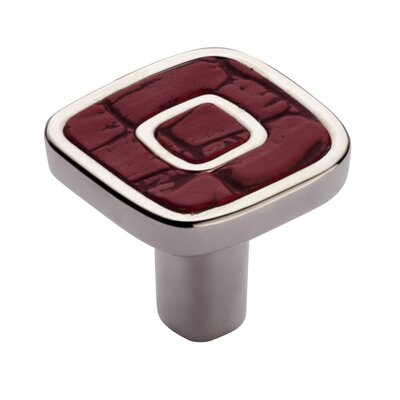 "Bosetti-Marella Jungle Touch 1.18"" Red Eco-Leather Knob in Polished Nickel"