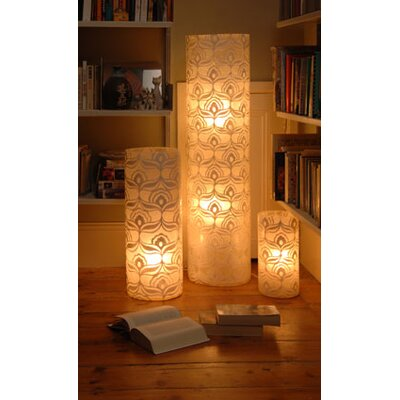Tay Lighting Jasmine White Tube Lamp in White with Shade