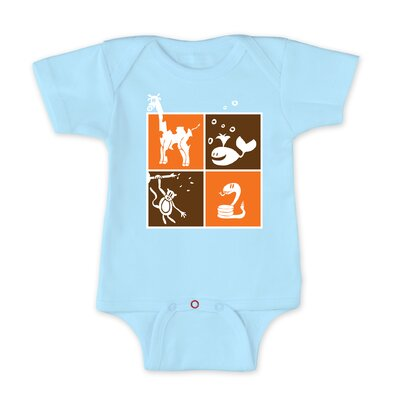 Redsnapper Zoology Short Sleeve Light Blue Bodysuit