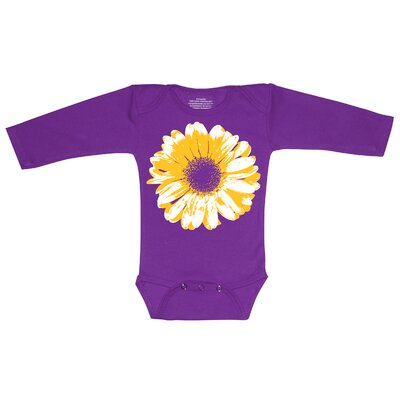 Redsnapper Large Flower Bodysuit with Long Sleeve in Purple