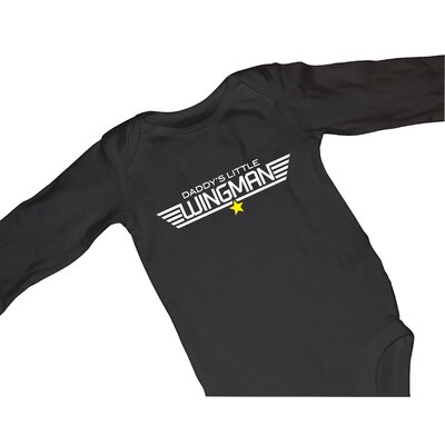 Redsnapper Daddys Little Wingman Bodysuit with Long Sleeve in Black