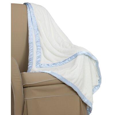 Go Mama Go Cream Minky Toddler Blanket with Blue Satin Trim