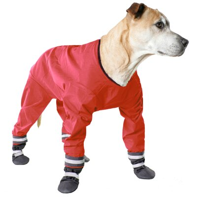 Muttluks Dog Jog Rainsuit in Red