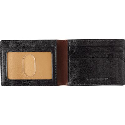 Johnston & Murphy Dividends Super Slim Wallet in Black and Dark Mahogany Waxhide