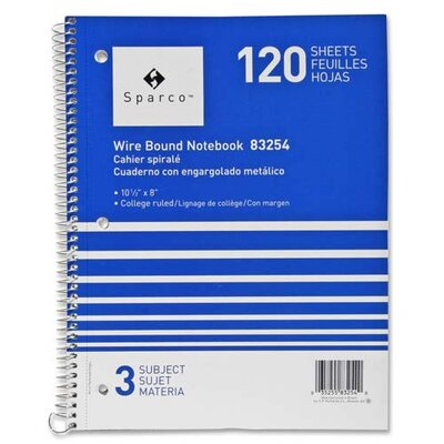 "Sparco Products Notebooks, Wirebound, 3 Subject, 10-1/2""x8"", Wide Ruled, 120SH"