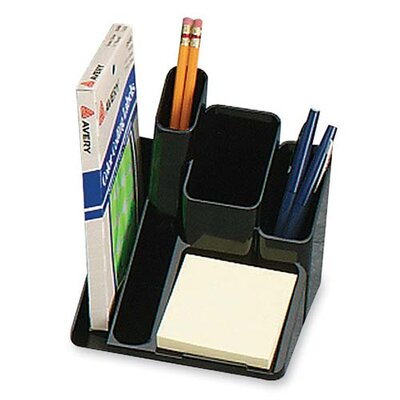 "Sparco Products Desk Organizer, 5 Compartments, 6""x6""x6"", Black"