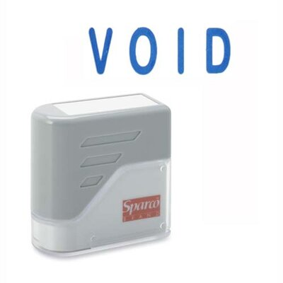 "Sparco Products VOID Title Stamp, 1-3/4""x5/8"", Blue Ink"
