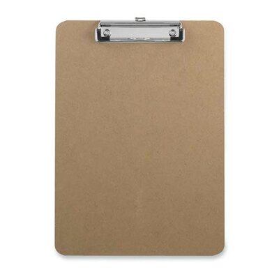 "Sparco Products Hardboard Clipboard, w/Rubber Grips, 9""x12-1/2"", Dark Brown"