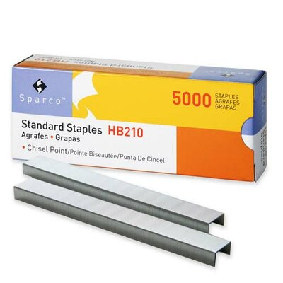 "Sparco Products Standard Staples, Chisel Point, 1/2"" W, 1/4""L, 210 Strip"