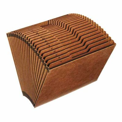 "Sparco Products Accordion Files, No-Flap, 21 Pckts, A-Z, Letter, 12""x10"", Brown"