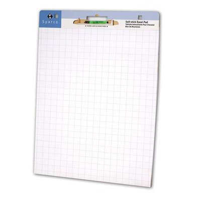 "Sparco Products Self-stick East Pad, 1"" Grid, 30 Sheets, 2/CT, White"