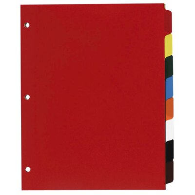 "Sparco Products Non-Insertable Poly Indexes, 3-HP, 8-Tab, 11""x8-1/2"", Multicolor"