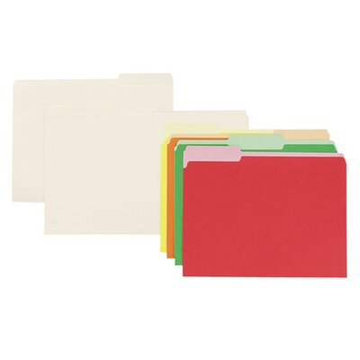 Sparco Products Interior Folders, 1/3 AST Tab Cut, Letter-Size, 100/BX, MLA