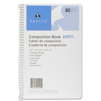 Sparco Products Sparco College Ruled 80 Sheet Composition Book, Cream