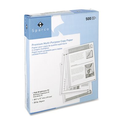 "Sparco Products Copy Paper, 92 Brightness, 20 Lb, 8-1/2""x11"", 2500/CT, White"