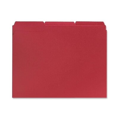 Sparco Products File Folders, 1/3 AST Tab Cut, Letter-Size, 100/BX, Red