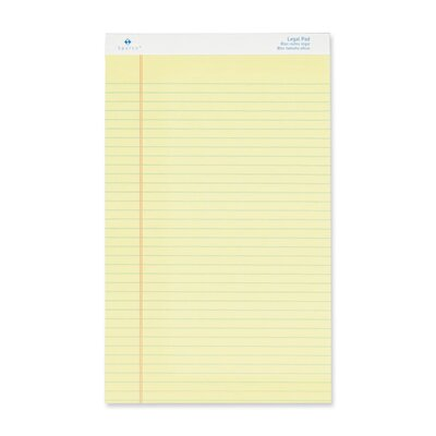 "Sparco Products Legal Ruled Pad, Micro-Perforated, Legal, 8-1/2""x14"", Canary, 50 Sheets, 12-Pack"