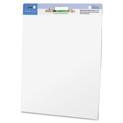 Sparco Products Self-stick Easel Pad, w/Carry Handle, Plain, White, 30 Sheets, 2 per Pack