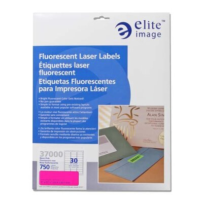 "Elite Image Printer Labels, Permanent Adhesive, 1""x2-5/8"", 750 per Pack, Neon Pink"