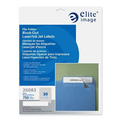 Elite Image Block-out Folder Label, Permanent Adhesive, 1/3 Cut, 750/PK, WE
