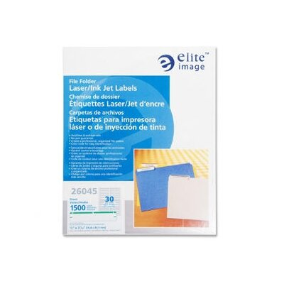 "Elite Image Filing Labels, Laser/Inkjet, 2/3""x3-7/16"", 1500 per Pack, Green"