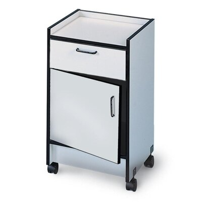 "Hausmann Industries Drawer and Cabinet Mobile Cart, 1Drwr/1Door, 18-1/2""x18-1/2""x30"", Folkstone Gray"