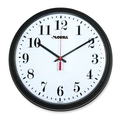"Lorell +13-3/4"" Round Quartz Wall Clock, Black"