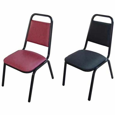 Lorell Upholstered Stacking Chairs 4-Pack, Black