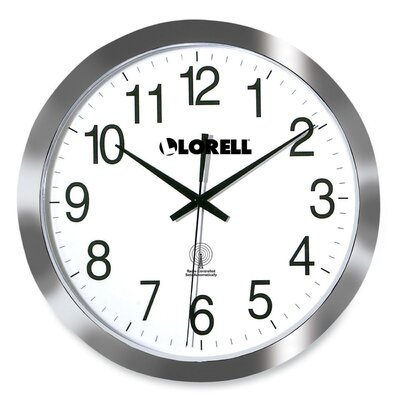 Lorell Round Profile Radio-controlled Wall Clock, Silver