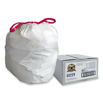 Genuine Joe White Flex Drawstring Trash Liners , White