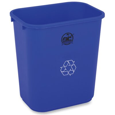 Genuine Joe 28-1/2qt Recycle Wastebasket, Blue/white