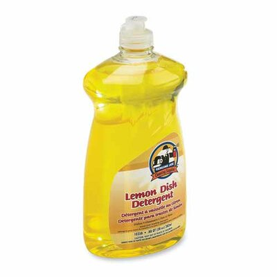 Genuine Joe Lemon Scent Dishwashing Detergent, Clear