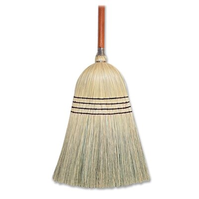 "Genuine Joe Janitor Broom, Corn Fiber, 11"" W, 58"" Handle, Natural"