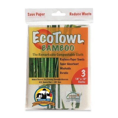 "Genuine Joe EcoTow Bamboo, 14""x10"", 3 per Pack, White/Brown/Green"