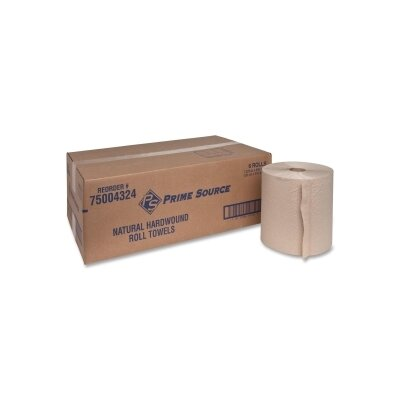 "Genuine Joe Embossed Hardwound Roll Towels, 2"" Core, 7-7/8""x800', 6 Rolls per Box, Brown"
