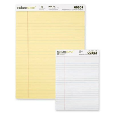 Nature Saver Recycled Legal Ruled Pads, Junior Legal, Canary/White, 50 Sheets, 12-Pack