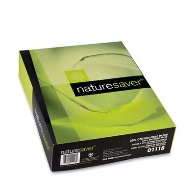 "Nature Saver Recycled 25% Cotton Paper, White, 20 lb., Bright 92, 8-1/2""x11"""