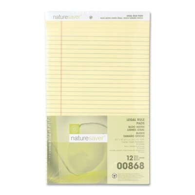 "Nature Saver Recycled Pad, Legal Ruled, 8-1/2""x14"", 50 Sheets, Canary"