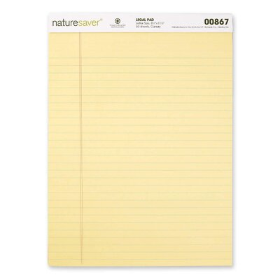 "Nature Saver Recycled Legal Ruled Pads, 50 Sheets, 8.5"" x 11.75"", Canary or White, 12-Pack"