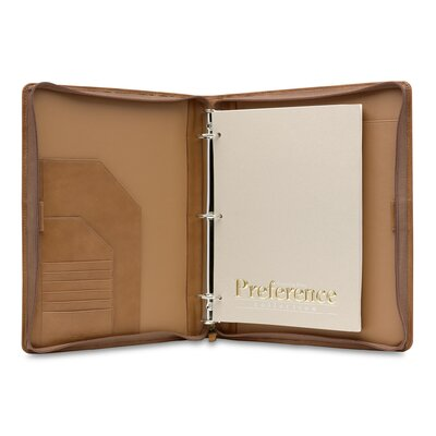 Hartmann J Hartmann Reserve Zip Three-Ring Binder in Natural