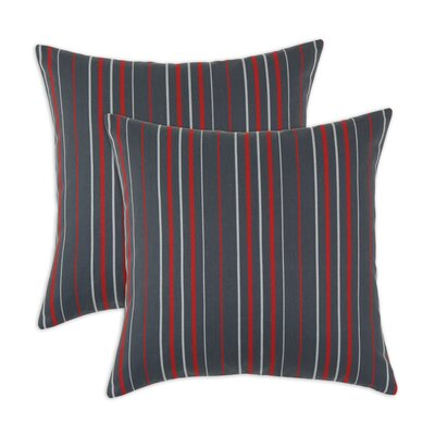Multi Stripe Self Backed Fiber Pillow (Set of 2)