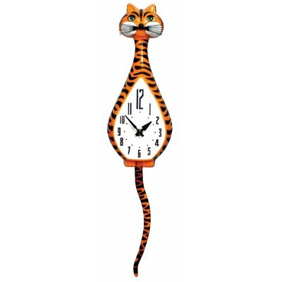 Animated Clocks Simone Cat Tiger Striped Wall Clock